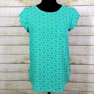 Escapada Lime Print Short Sleeve Blouse Top XS